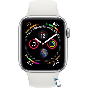 Apple Watch Series 4 Sport 40mm (GPS plus LTE) Aluminium Silver Sport Band Weiß