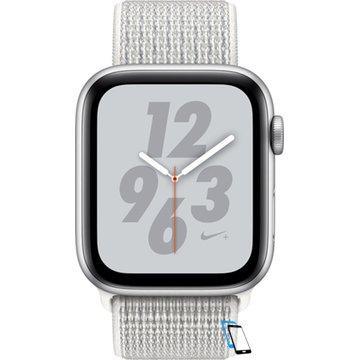 Apple Watch Series 4 Sport 44mm (GPS only) Nike Plus Aluminium Silver Sport Loop Band Weiß