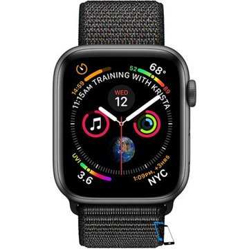 Apple Watch Series 4 Sport 44mm (GPS only) Aluminium Grey Sport Loop Band Schwarz