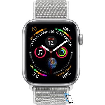 Apple Watch Series 4 Sport 44mm (GPS only) Aluminium Silver Sport Loop Band Weiß