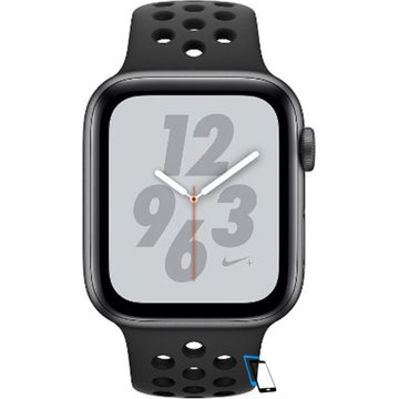 Apple Watch Series 4 Sport 44mm (GPS only) Nike Plus Aluminium Grey Sport Band Schwarz
