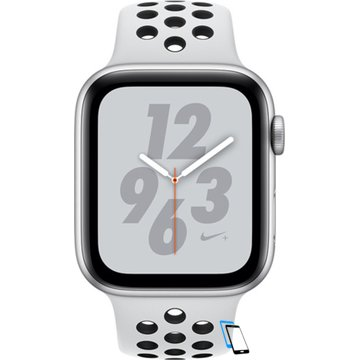 Apple Watch Series 4 Sport 44mm (GPS only) Nike Plus Aluminium Silver Sport Band Schwarz