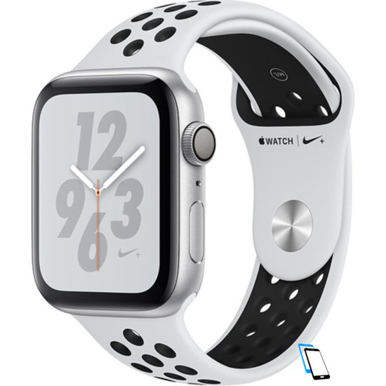 Apple Watch Series 4 Sport 44mm (GPS only) Nike Plus Aluminium Silver Sport Band Schwarz